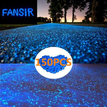 150pcs Glow in the Dark Garden Pebbles,Glow Stones Rocks for Walkways Outdoor Decor Aquarium Fish Tank Garden Decorative Stones for Path Lawn Yard Walkway -Blue