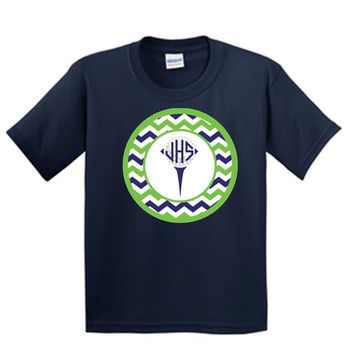 Golf Tee with Chevrons with Monogram on Navy T-Shirt