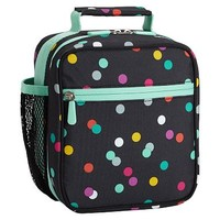 Gear-Up Black Confetti Dot Classic Lunch With Mesh Side Pocket