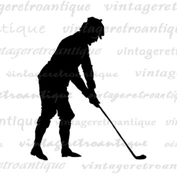 Golfer Silhouette Graphic Printable Digital Golf Download Golfing Image Vintage Clip Art Jpg Png Eps  HQ 300dpi No.4230