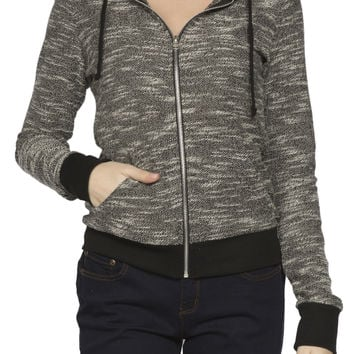 Girls French Terry Marled Zip Hoodie