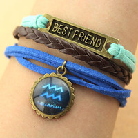 Twelve constellations bracelet--best friend bracelet,antique bronze charm bracelet,blue cord,brown braid leather bracelet,MORE COLORS