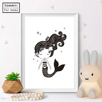 Nordic Print Mermaid Wall Art Print And Poster Lovely Character Mermaid Canvas Painting Pictures For Kids Room Wall Decor