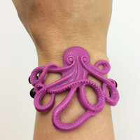 Octopus bracelet / beaded jewelry / purple jewelry / octopus jewelry / resin bracelet / beaded bracelet / alternative jewelry /