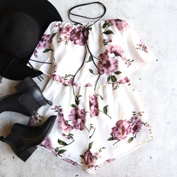 reverse - tainted love strapless romper - white/pink floral