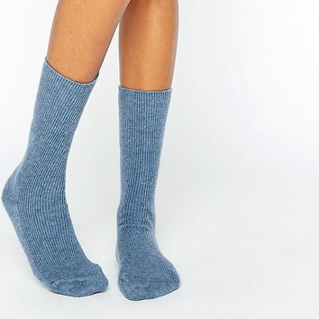 Johnstons Blue Cashmere Ankle Socks