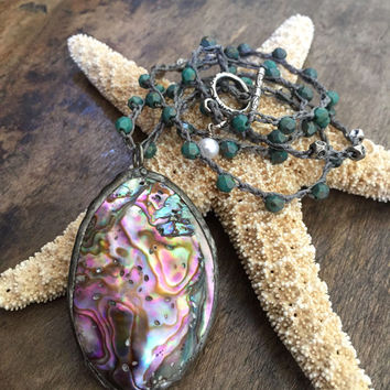 Soldered Abalone Pearl Crochet Necklace, Knotted Turquoise Soul Surfer, Waters Edge Coastal Jewelry, Two Silver Sisters