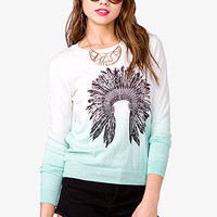 FOREVER 21 Ombre Feather Headdress Sweatshirt Mint/Black