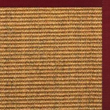 Cognac Sisal Rug with Cardinal Red Cotton Border