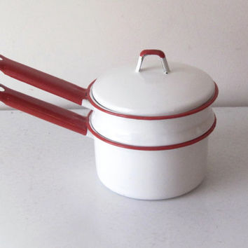 Vintage Enamelware Double Boiler Red and White
