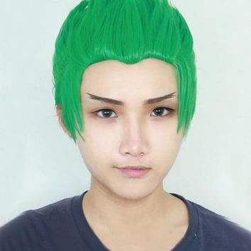 OW Genji Short Green Slicked-back Cosplay Costume Wig Heat Resistance Fibre Hair + Free Wig Cap