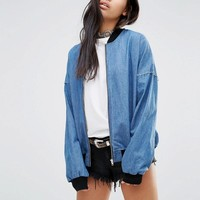 Milk It | Milk It Vintage Relaxed Oversized Denim Bomber Jacket at ASOS