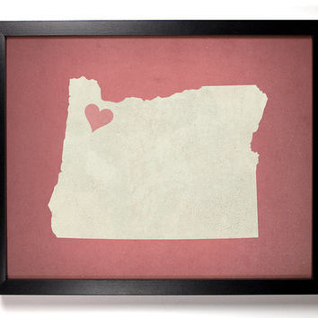 State Love Oregon (Pictured In Blush) Giclee, Art Print 8 x 10