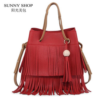 SUNNY SHOP Brand 2 Bags/Set  Designer Bohemian Style Women Shoulder Bags High Quality PU leather Handbag And Purse Women Bag