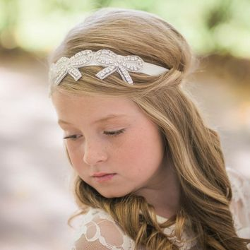 Bonnie Bows Ivory Crystal Jewel Headband