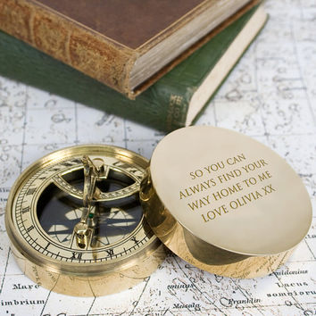 Personalised Adventurer's Brass Sundial and Compass - Engraved - Romantic Christmas Gift - Xmas - Hike - Personalized - FREE UK DELIVERY