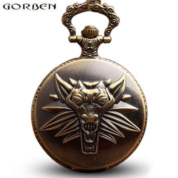 Retro The WITCHER 3 Game WILD HUNT Quartz Pocket Watches Necklace Vintage Fob Pendant Clock Chain Steampunk Women Men Children