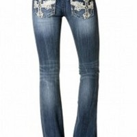 Miss Me Two Tone Leather White Wing Cross Boot Cut