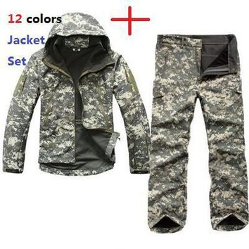 Tactical TAD Gear Soft Shell Camouflage Outdoor Jacket Set Men Army Sport Waterproof Hunting Clothes Set Military Jacket + Pants