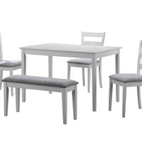 Dining Set - 5Pcs Set / White Bench And 3 Side Chairs