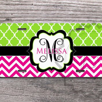 License Plate - Lime Green Quatrefoil and Magenta chevron, personalized plate car tag, monogrammed gift, vanity license plate, front car tag