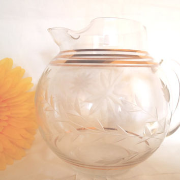 Vintage Libbey Carafe , Water Pitcher , Glass Carafe , Carved Flowers and Gold , Retro Carafe