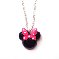 Handmade Minnie Mouse Necklace with Pink Bow and Silver Chain Disney Jewelry