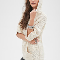 FOREVER 21 Hooded Popcorn Knit Sweater Cream