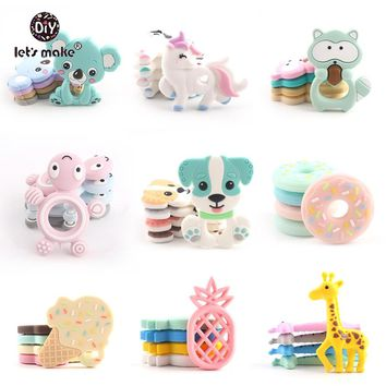 5PCS Silicone Teether Food Grade BPA Free DIY Baby Teething Necklace Nursing Materials Silicone Animals Baby Teether