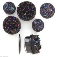 PAIR-Druzy Black Stone Titanium Black Screw On Plugs 05mm/4 Gauge Body Jewelry
