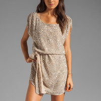Haute Hippie Junk Sequins Cowl Tank Dress with Self Belt in Buff from REVOLVEclothing.com