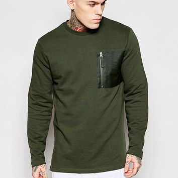 ASOS Longline Sweatshirt With Fixed Hem & Zip Pocket