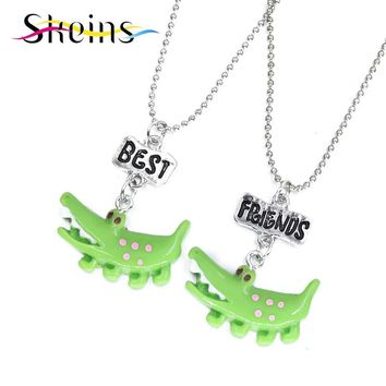 Skeins BFF Jewelry 2pcs/Set Best Friends Charm Cartoon Cute Crocodile Pendants Necklace Food Jewelry For Kids Ice-Cream Necklace