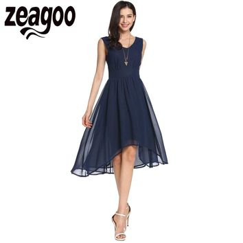 Zeagoo 2017 Women Casual Dress Elegant V-Neck Sleeveless Asymmetrical A-Line Vestido Pleated Hem Chiffon High Waist Tank Dress