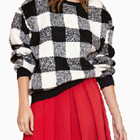White Plaid Loose Woolen Sweatshirt