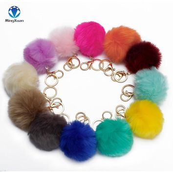 MINGXUAN Fake Fur pom pom Keychain 8cm llavero pompon keychain Keyring Golden Chains Fake Fox Rabbit Fur Chain