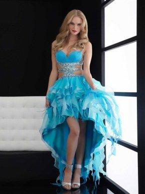 Cheap Strap Sweetheart Aqua A-line Hi-low Prom Dress with Jewel On Sale