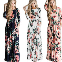 Sundress Colorful Folwer Printed Long Sleeve Casual Dresses Fashioin Women Clothing Summer Boho Long Beach Dresses