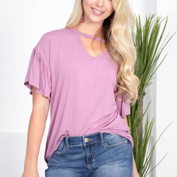 Violet Purple Flutter Bamboo Top