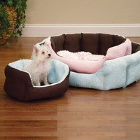 Slumber Pet Cotton/Nylon 18-Inch Dimple Plush Nesting Dog Bed, Pink