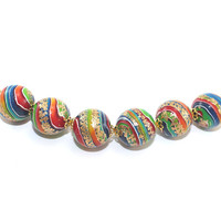 Set of 6 colorful Polymer Clay beads, round beads for Jewelry Making, beads in rainbow colors with gold touch, stripes beads