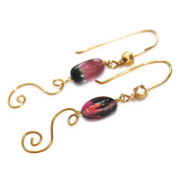 Bicolored Tourmaline Earrings Gold Swirl Earrings Tourmaline Jewelry Watermelon Tourmaline Earring Handmade Artisan Earring Delicate Earring