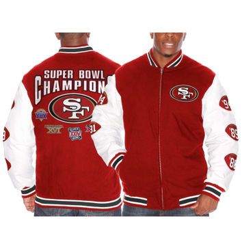 San Francisco 49ers Triple Double Commemorative Jacket – Cardinal
