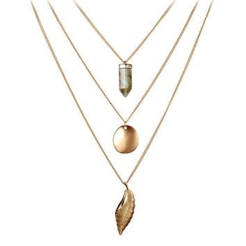 Gold Color Alloy Multilayer Long Chains Vintage Leaf Shape Bullet Natural Stone Pendants Necklace