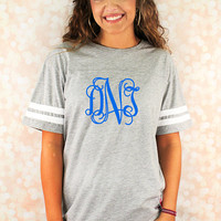 Monogrammed Football Jersey Tee Ladies Tshirt