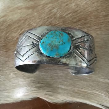 Early 1900s Navajo Silver and Turquoise Cuff