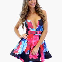 Dark Blue Floral Print Sleeveless with V-Cut High-Waisted Skater Dress