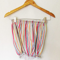 Vintage Women's Striped Crop Tube Top