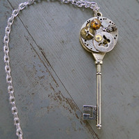 The Time of Butterflies - Antique Silver Steampunk Key Necklace