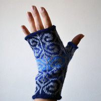 Hand-Knit Gray and Blue Fingerless Gloves - Fashion Gloves - Bohemian Gloves - Fingerless Gloves - Wool Fingerless Gloves nO 110.